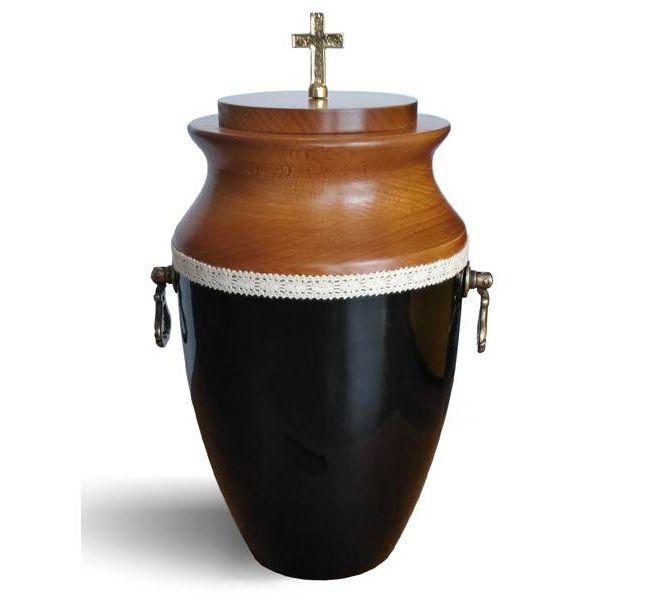 urna matalowo drewniana czarna