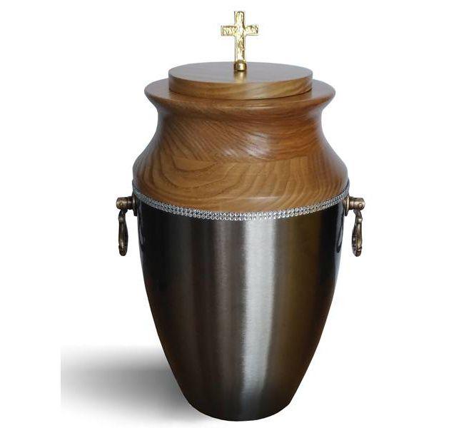 urna matalowo drewniana szara